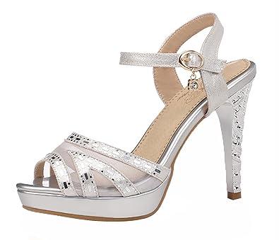UH Damen Peep Toe High Heels Sandaletten Plateau mit Stiletto und Riemchen  Pumps 11cm Absatz Schuhe
