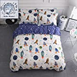 #4: BuLuTu Space Rocket Print Cotton Boys Bedding Duvet Cover Sets Queen White and Blue 3 Pieces (1 Duvet Cover and 2 Pillowcases) Planet Spaceship Star Full Girls Bedding Sets Zipper Closure,NO COMFORTER