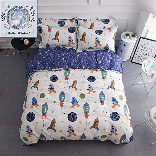 BuLuTu Space Rocket Print Cotton Boys Bedding Duvet Cover Sets Queen White and Blue(1 Duvet Cover and 2 Pillowcases) Planet Spaceship Star Full Girls Bedding Sets For Kids Teen Zipper Closure (Duvet Covers Pillowcase)
