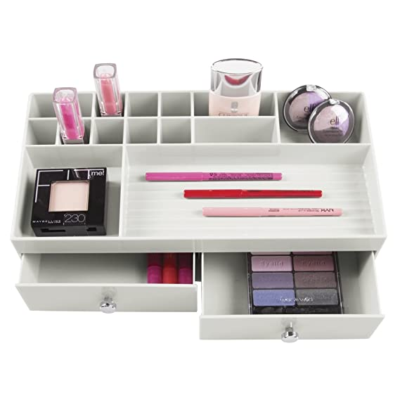 Amazon.com: InterDesign 2 Drawer Cosmetic Organizer for Vanity Cabinet to Hold Makeup, Beauty Products - Light Gray: Home & Kitchen