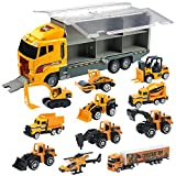 Oumoda 11 in 1 Transport Car, Die-cast Construction Truck Vehicle Car Toy Set Play Vehicles in Carrier Truck,...