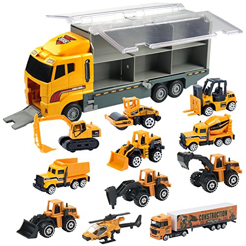 Oumoda 11 in 1 Transport Car, Die-cast Construction Truck Vehicle Car Toy Set Play Vehicles in Carrier Truck, Vehicles Toys Gifts for Age 3 4 + Years Old Kids, Boys and Girls