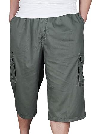 dec36c84fa5 Heheja Homme Cargo Shorts Militaire avec Taille Élastique Pantalon Court  Bermuda Pantacourt Armée Verte XL