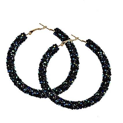 35c780cf156 Women Girls Fashion Shining Round Circular Earrings Hoop Earrings Ear Clip  Jewelry Gift (Black)