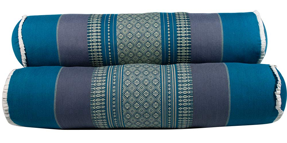 NRG Thai Massage Bolsters, 23'' L x 5-1/2'' D, Set of 3 - Thai Bolster Makes Great Addition to Your Mattress Cushion Pillow for Massage, Yoga and Meditation (Teal/Gray)