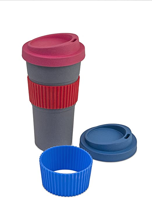 20oz Travel Cup. Premium Eco Friendly, Bamboo Fiber, Biodegradable Travel Cup with Screw Top Lid. Perfect for Coffee, Tea and Cold Drinks. 4 Color