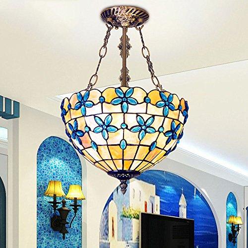 - Huston Fan Mediterranean Tiffany Shell Chandelier European Style Bedroom Ceiling Lamp Aisle Ceiling Light Lilac Flower Foyer Blue Chandelier (12 Inches)