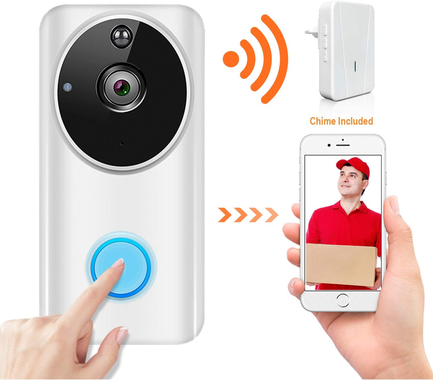 Wireless Video Doorbell Wi-Fi Enabled, Smart Home Door Bell 1080P Security Camera with Motion Detection, Real-Time Two-Way Video Intercom, Night Vision, Supports SD Card, with Chime and Battery