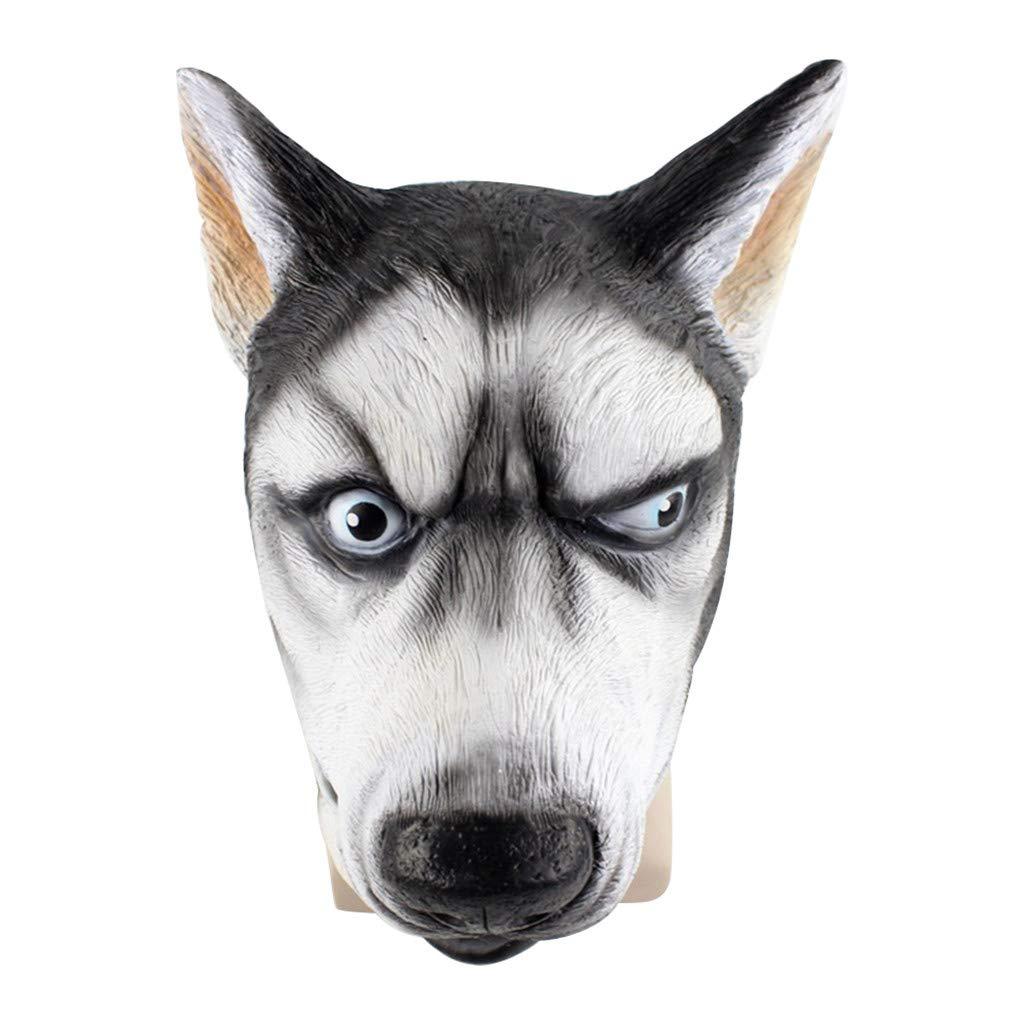Halloween Mask,Meetsunshine Cosplay Siberian Husky Dog Mask Creepy Animal Head Latex Mask Plus Lace Mask Suit for Halloween Party by Meetsunshine Halloween