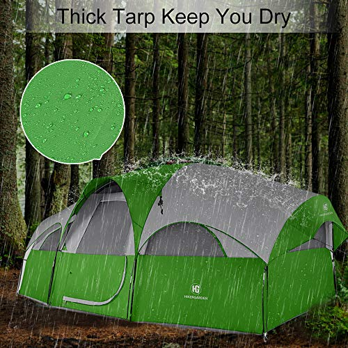 TOMOUNT 8-Person Tent – Easy & Quick Setup Camping Tent, Professional Waterproof & Windproof Fabric, Double Layer, 5 Large Mesh for Ventilation, Lightweight & Portable with Carry Bag (Green)
