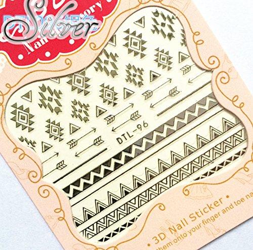 Nail Art 3D Decal Stickers Native Pattern - DTL096 Nail Sticker Tattoo - FashionDancing