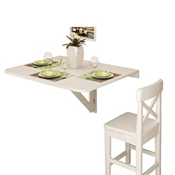 Amazon.com: Large Wall Mount Drop Leaf Folding Table White Solid Wood 36 X  30 Inches: Kitchen U0026 Dining