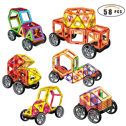 netic Building Blocks 58pcs Magnetic Tiles Toys Set for Kids - STEM Educational Construction Shapes - Vehicle Set (58 Piece Set)