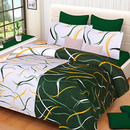 HOME ELITE Abstract Print Cotton Double Bedsheet with 2 Pillow Covers,Multicolor – RG-3D-112