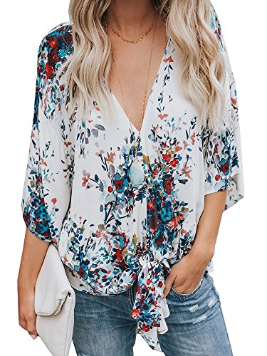 Womens Floral Blouses Tie Front V Neck Loose Fit Summer Blouses Short Sleeve Shirt - Tuck Front Blouse