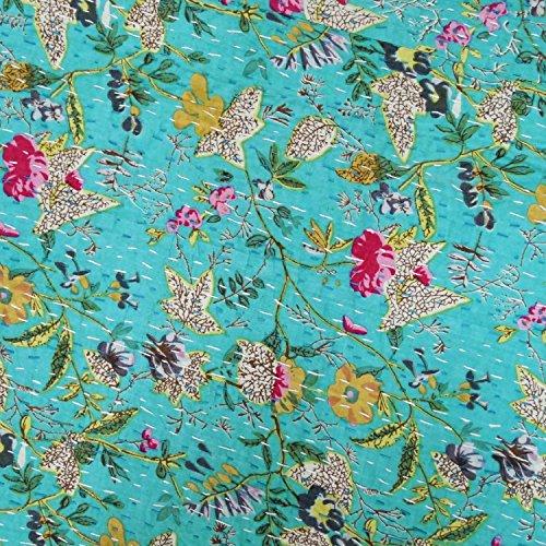 "indian sparrow KING Size Kantha Quilt , Kantha Blanket, Bed Cover, Bedspread, Bohemian Bedding 90108"""