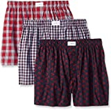 Tommy Hilfiger Men's Underwear 3 Pack Cotton Classics Woven Boxers,  Multi/Red,  Large