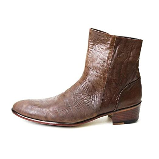 4554 Ankle Boots - 2 ColorsMens Bike Ankel Long Boots Oxford Casual Loafer Handmand Leather Shoes