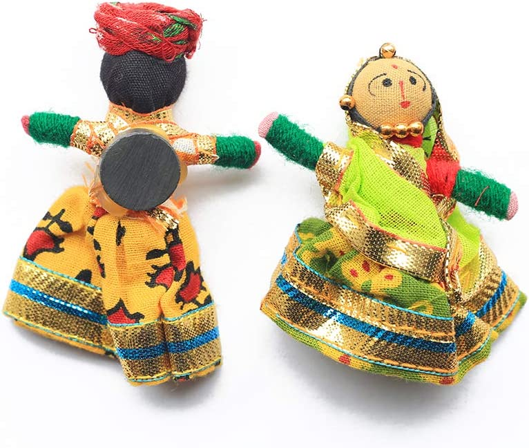 Aditri Creation Handcrafted India Souvenir Puppet Doll Cum Fridge Magnet,Perfect for Gifting, Set of 2, Diwali & Festival Decor, Kitchen/Room/Office Accessories