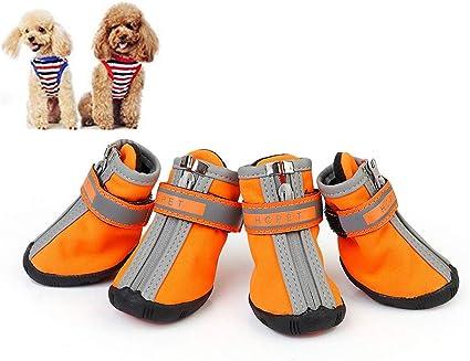 Rysmliuhan Shop Hundeschuhe Wasserdicht Pfotenschutz Hund Hitze Hundeschuhe Für Kleine Hunde Hundeschuhe Hundestiefel Für Verletzte Pfoten Wasserdicht Orange S 2 Küche Haushalt