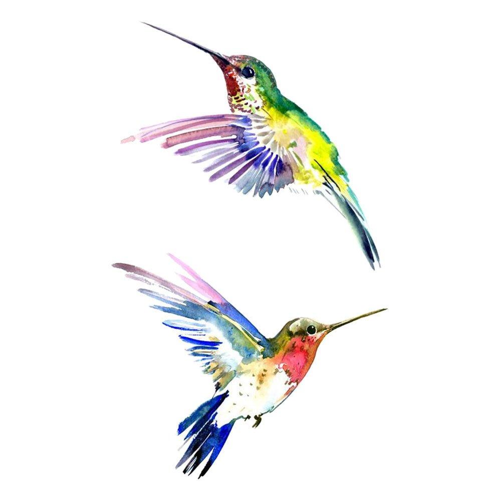 WYUEN 5 hojas de pájaros colibrí falso tatuaje impermeable ...