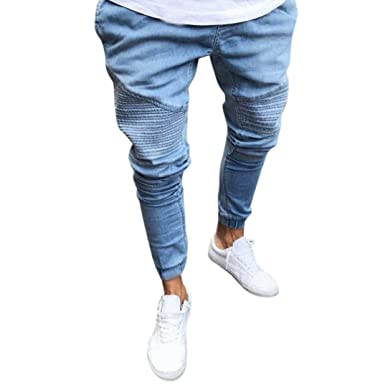 bec3af3151473 OVERDOSE Homme Jean Vintage Fuselé, Denim Bleu Clair Délavé Pantalons Slim  Casual Skinny Trousers Style Motard