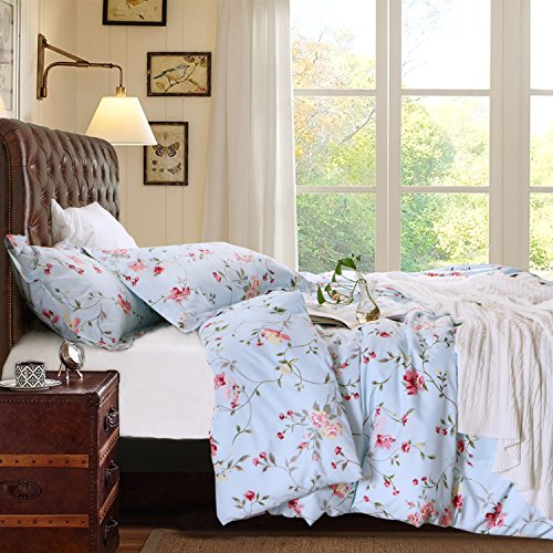 Light Blue Floral Pattern (3 Pieces Duvet Cover Set Brushed Microfiber Floral Printed Pattern with Hidden Zipper, Queen, Light Blue by NTBAY)
