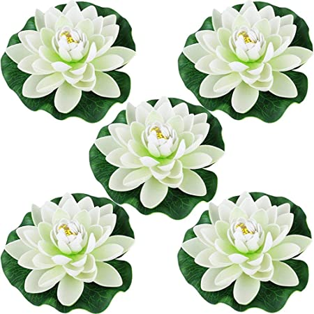 Aesthing 5pcs Artificial Water Lily Plants Foam Floating Lotus