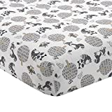 Bedtime Originals Little Rascals Forest Animals Fitted Crib Sheet, Gray/White