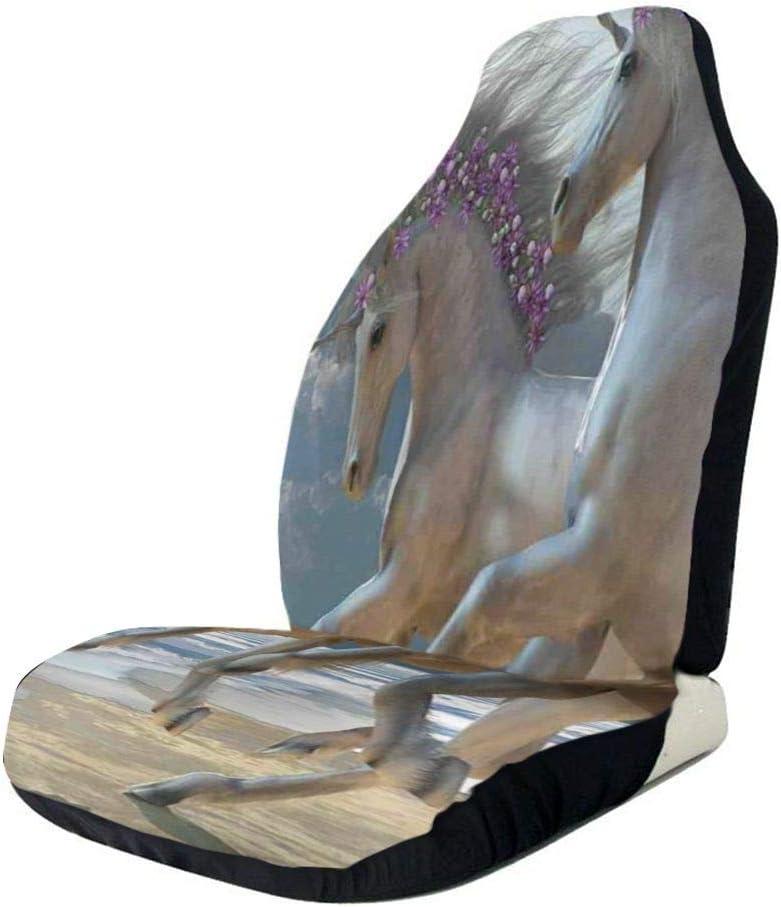 Fundas de asientos delanteros del automóvil Protector del vehículo, Running Horses by Seashore con flores de color lila Adornados Crines debajo de las vigas, se ajustan a la mayoría de los automóviles