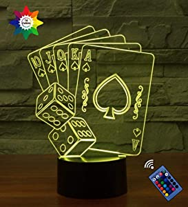 Optical Illusion 3D Playing Cards Poker Night Light 16 Colors Changing USB Power Remote Control Touch Switch Decor Lamp LED Table Desk Lamp Children Kids Christmas Xmas Brithday Gift