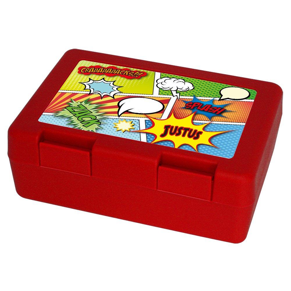 Brotzeitdose mit Vornamen Vesperbox Brotdose mit Namen Justus und buntem Comic-Motiv f/ür Jungs Vesperdose Brotbox