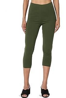 TheMogan Womens Cotton Jersey High Waist Mid Calf Capri Leggings Dusty Olive 3XL