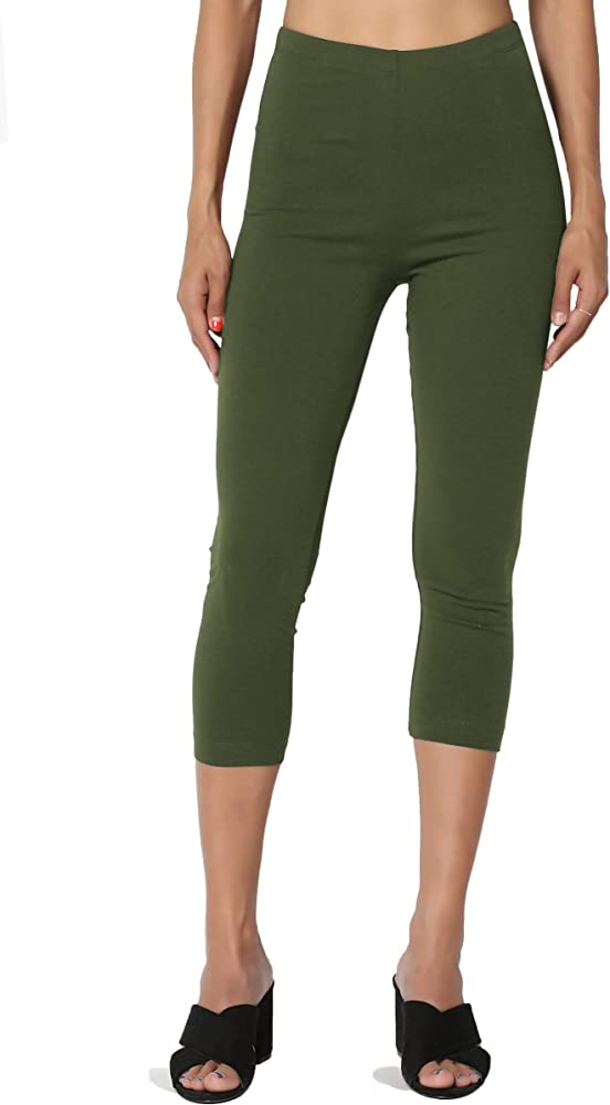 Cotton Mid Basic Leggings Capri Jersey Length High Calf Elastic Waist fYIvb76gy