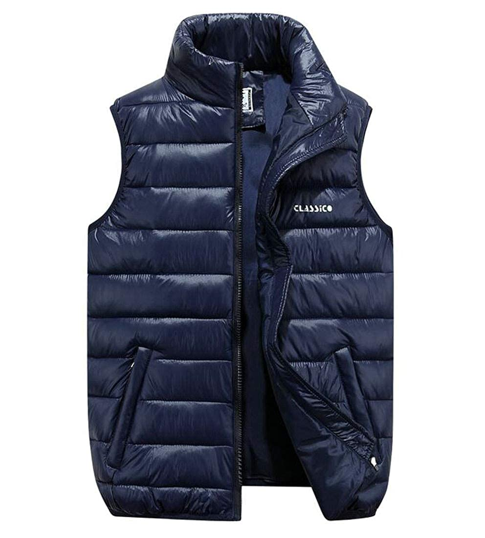 Cromoncent Mens Jacket Slim Big and Tall Quilted Thick Vest