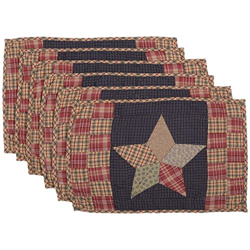 "VHC Brands Classic Country Tabletop Kitchen Maryland Cotton Hand Quilted Patchwork Star Rectangle Placemat Set of 6 12"" x 18"" Navy Blue"