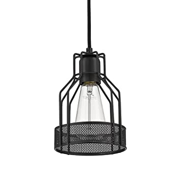 YOBO Lighting Industrial Edison Antique Black Wire Cage Pendant ...