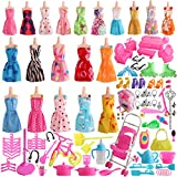 SOTOGO 125 Pcs Barbie Doll Clothes Set Include 20 Pack Barbie Clothes Party Grown Outfits(Color Random) and 105 Pcs Different Barbie Doll Accessories for Little Girl