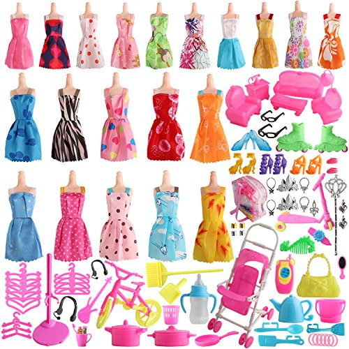 Doll Accessories Barbie Clothes (SOTOGO 125 Pcs Barbie Doll Clothes Set Include 20 Pack Barbie Clothes Party Grown Outfits(Color Random) and 105 Pcs Different Barbie Doll Accessories for Little Girl)