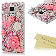 Note 4 Case,Galaxy Note 4 Case - Mavis's Diary® 3D Handmade Bling Crystal Lovely Pink Flowers with Cute Bow Shiny Crown Sparkle Diamonds Rhinestone Clear Case Hard PC Cover For Samsung Galaxy Note 4