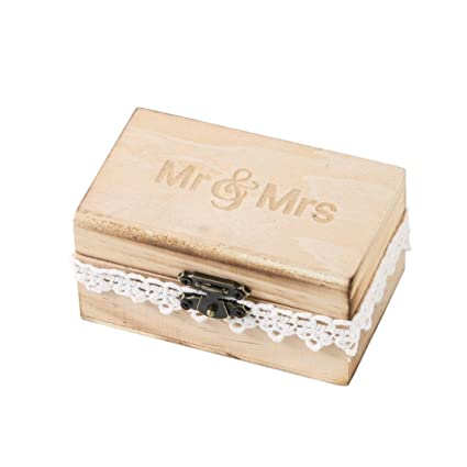 Caja de Slmacenamiento, Personalizada retro boda anillo caja titular mal elegante rústico de madera caja
