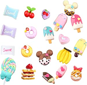20 pcs 3D Slime Charm Slices Resin Flatback Dessert Beads Button Cake Ice Cream Sweets Donut Cherry Banana Chocolate Lollipop for DIY Scrapbooking Embellishment, Phonecase, Hair Clip, Jewelry