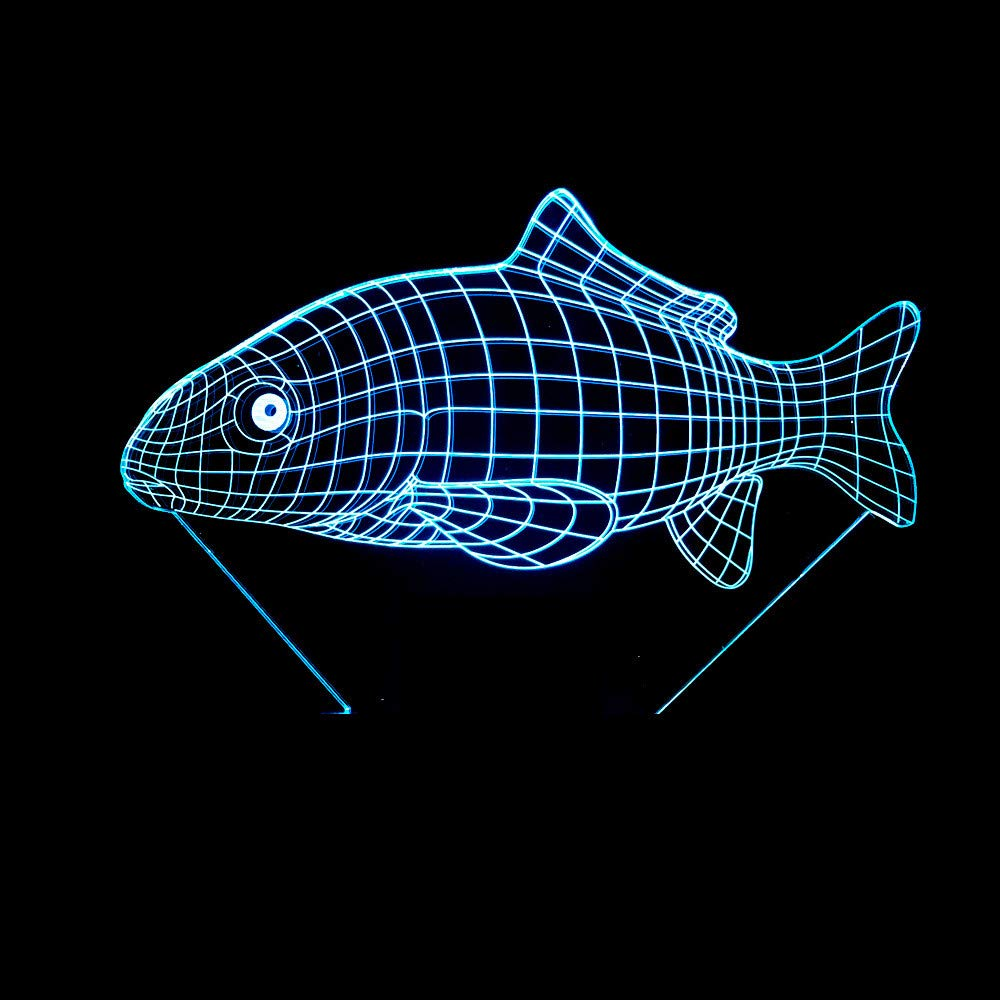 3D Optical Illusion Lampe Karpfen 7 Farb/änderung Ber/ühren//Remoto-Schalter Empfindliches LED-Nachtlicht f/ür Hauptdekor Perfekte Geschenke f/ür Baby