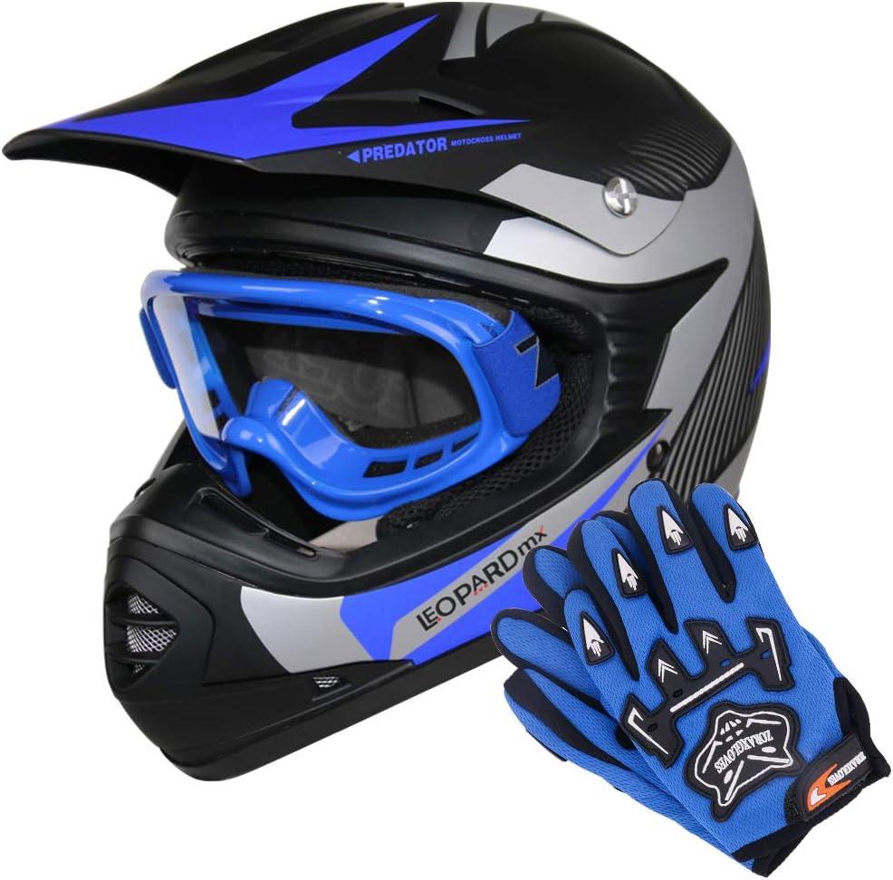 49-50cm Zorax XS 5cm /& Goggles /& Leopard Pink S LEO-X19 PREDATOR Kids Motocross Helmet Child Dirt Bike Motorocycle Helmet Clothing Suit Set 3-4 Years Kids CAMO Suit /& Gloves S