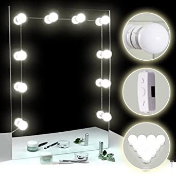 TOMNEW luces para espejo, Kit de 10 bombillas de intensidad regulable de estilo de Hollywood LED ...