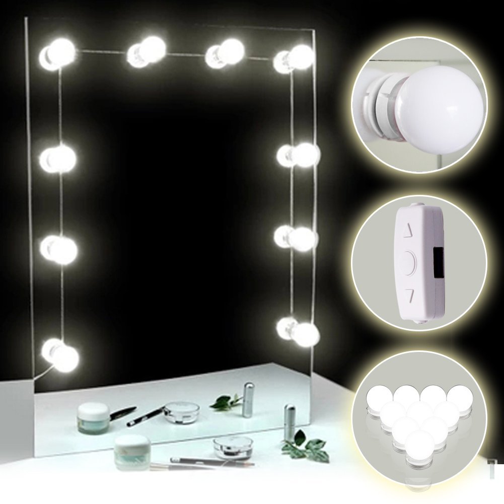 TOMNEW Vanity Mirror Lights, Hollywood Style LED Mirror Lights Kit 10 Dimmable Bulbs Kit for Makeup Dressing Table with Touch Dimmer and Power Supply Plug in Lighting Fixture Strip