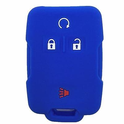 Ezzy Auto Blue Silicone Rubber Key Fob Case Key Cover Keyless Remote Jacket Skin Protector fit for Chevrolet Silverado Colorado GMC Sierra Yukon Cadillac: Automotive