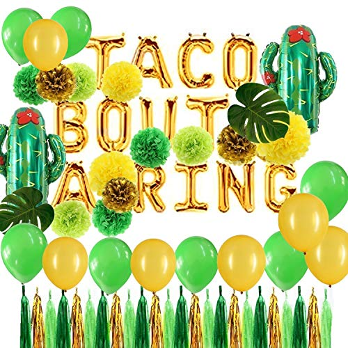 Green and Gold Taco Bout a Ring Foil Cactus Balloons and Tissue Pom Poms Flowers Set Fiesta Party Theme Bridal Shower Wedding Announcement Ideas Mexican Fiesta Theme Supplies (Ideas Wedding Shower)