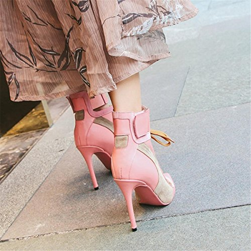 Mujeres Estilete Alto Tacón Puntiagudo Corte Inteligente Fiesta Trabajo Tobillo Correa Señoras Negro Strappy Zapatos Zapatillas tamaño 35-44 Pink