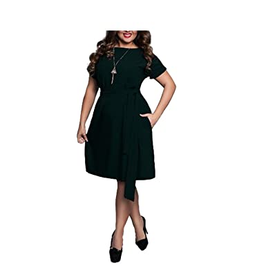 Ylovego Summer Dress Big Size Office Dress Blue Red Green Dresses
